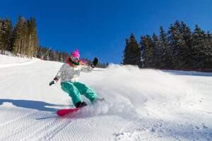 Snowboarding on the mountain